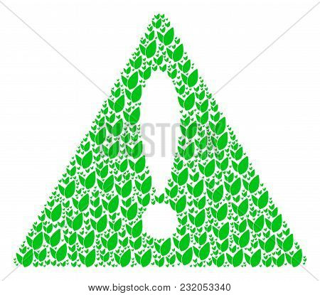 Problem Sign Pattern Created Of Floral Sprout Elements. Vector Floral Sprout Items Are Combined Into
