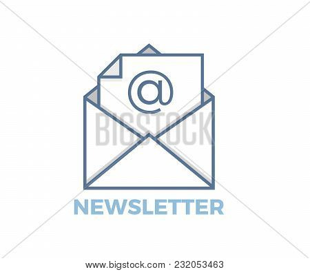 Email Newsletter Icon With Envelope. Vector Design