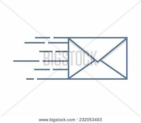 Sending Mail Icon. Vector Illustration Design. Envelope Fast Delivery
