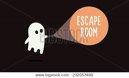 Escape Room Games Background Concept With Ghost And Flashlight. Vector Illustration