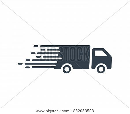 Fast Shipping Service Icon With Truck Driving Fast. Vector Flat Illustration For Express Delivery Co