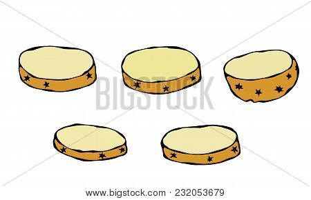 Potato Round Slices. Half Of Potato And Potato Cuts. Fresh Farm Harvest Product. Vegetable Cooking I