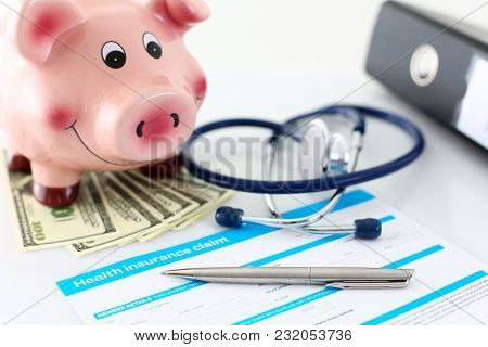 Silver Pen Lying On Health Application Form At Table Closeup With Funny Piggybank Standing On Bunch