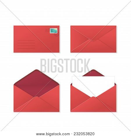 A Set Of Red Open And Closed Envelopes From The Front And Back, With Paper Inside And Postal Stamp.