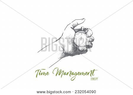 Time Management Concept. Hand Drawn Male Hand With Stopwatch. Watch In Hand As Symbol Of Deadline Is
