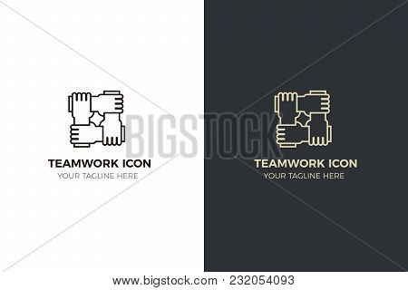 Stylized Icon Design With 4 Hands Holding Together. Illustration For Different Concepts Like Teamwor