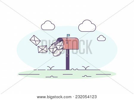 Open Mailbox Allowing Mail Envelop Letters Inside. Vector Trendy Illustration With Mailbox, Correspo