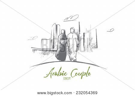 Arabic Couple Concept. Hand Drawn Arabic Man And Woman In Modern City. Arabic Couple In National Dre