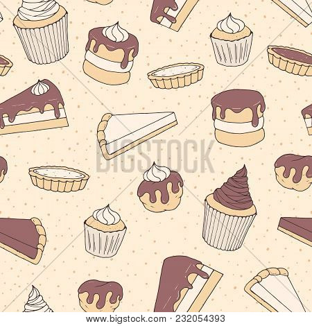 Hand Drawn Vector Pastry Seamless Pattern With Cake And Pie Pieces, Cupcakes And Eclairs Covered Wit