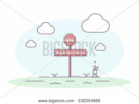 404 Page Not Found Illustration Concept With Signboard With A Rabbit Looking At It Confused. Vector