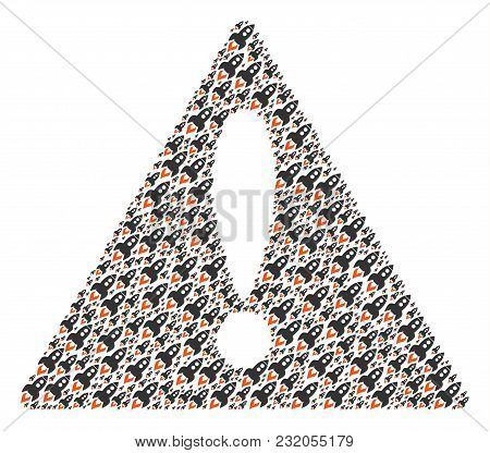 Mistake Triangle Sign Mosaic Combined Of Space Rocket Launch Pictograms. Vector Space Rocket Launch