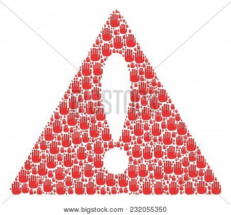 Attention Triangle Sign Mosaic Made Of Stop Hand Design Elements. Vector Stop Hand Pictograms Are Un