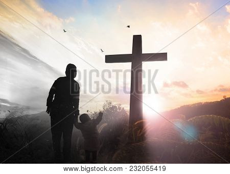 Good Friday Concept: Illustration Of Jesus Christ Crucifixion On Good Friday