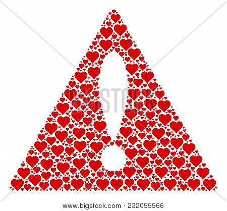 Dangerous Symbol Pattern Designed Of Valentine Heart Design Elements. Vector Valentine Heart Icons A