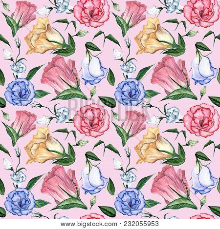 Watercolor Seamless Floral Pattern. Flower Delicate Pattern Of Flowers Eustoma, Lysianthus.