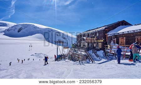 Cervinia, Italy - March 8, 2018: Mountain Hut On The Border Between Switzerland And Italy On 8 March