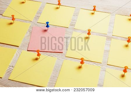 Stationary, Blank Colored Sticker Pined On White Wooden Board. Time-management, Planning