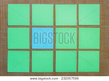 Stationary, Blank Green Blue Sticker On Brown Board. Flat Lay. Top View. Time-management, Planning