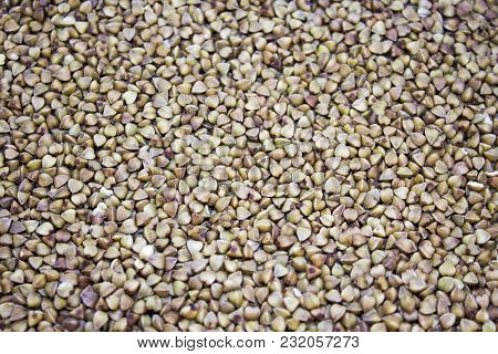 Background From Spilled Buckwheat - Texture Food Pattern