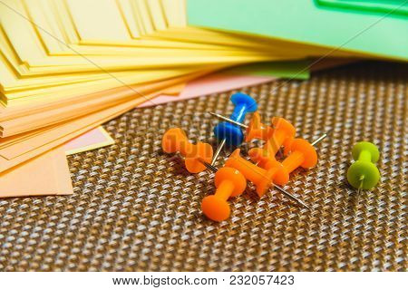 Stationary, Pushpins Heap, Blank Colored Sticker On Brown Board. Time-management, Planning