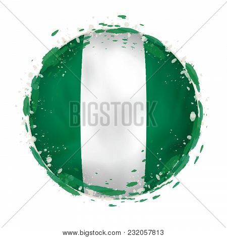 Round Grunge Flag Of Nigeria With Splashes In Flag Color. Vector Illustration.