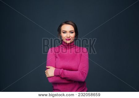 Portrait Attractive Woman With Lips And Clothing Fuchsia Colors Against Dark Gray Background