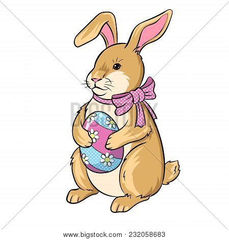 Easter Bunny With Egg Pop Art Retro Vector Illustration. Isolated Image On White Background. Comic B