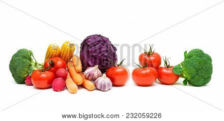 Tomatoes And Other Vegetables On A White Background. Horizontal Photo.