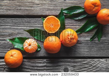 Beautiful Composition Of Tropical Fruits On Wooden Background A