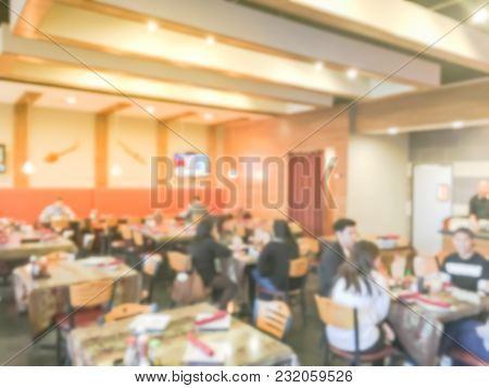 Blurred Abstract Thai Restaurant In Irving, Texas, Usa