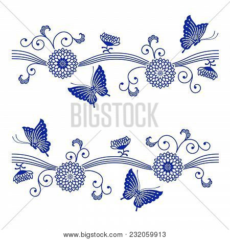 Japanese Style Indigo Blue Floral Pattern With Butterflies On White Background