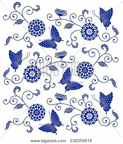 Japanese Style Indigo Blue Floral Pattern With Butterflies