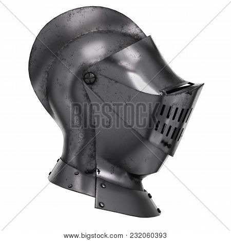 Medieval Knight Armet Helmet With Visor. Side View. Used For Tournaments Or Battlefields. 3d Render