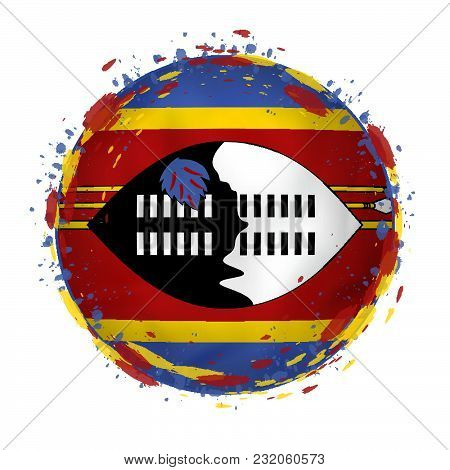 Round Grunge Flag Of Swaziland With Splashes In Flag Color. Vector Illustration.