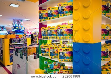 Bangkok, Thailand - March 04: Various Lego Sets In Boxes On Display In The Toys Department Of The Ma