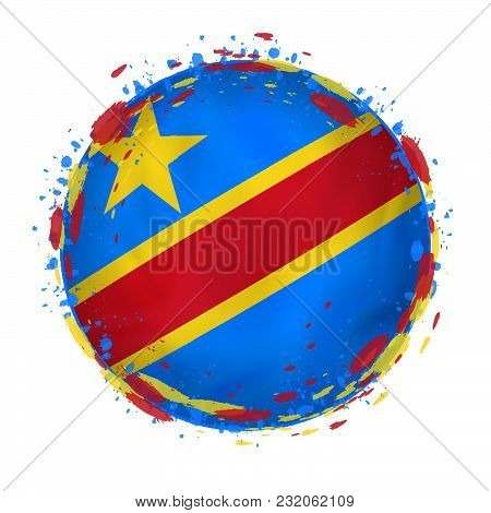 Round Grunge Flag Of Democratic Republic Of The Congo With Splashes In Flag Color. Vector Illustrati