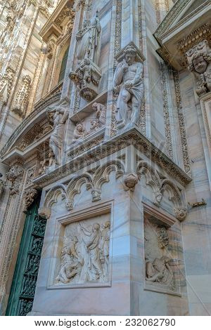 Facade Of The Famous Milan Cathedral, Lombardy, Italy. Detail.