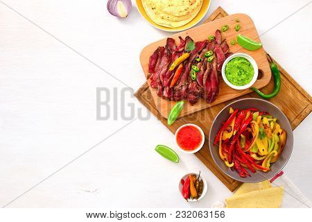 Grilled Flank Stake Fajitas, Mexican Culinary Concept, View From Above, Space For A Text