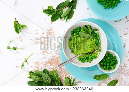 Green Peas And Mint Refreshing Green Pesto, View From Above