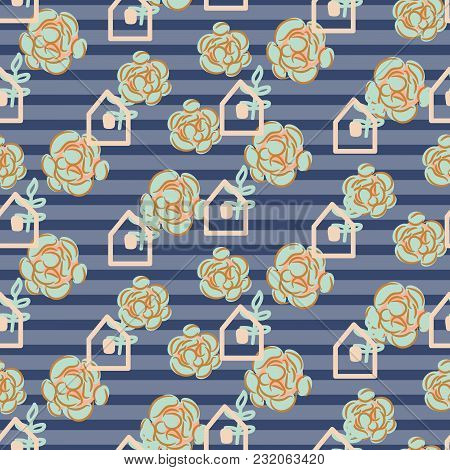 Striped Succulent Floral Seamless Vector Pattern. Blue And Green Neutral Greenhouse Background.