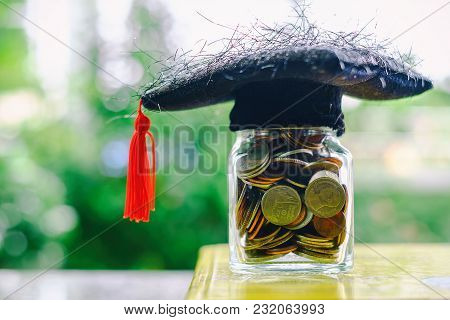 Square Academic Cap With The Glass Jar Of Coin On The Book Against Blurred Natural Green Background