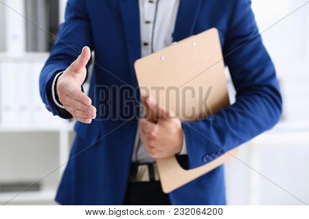 Hand Cheerful Man Offer Hand As Hello In Office Closeup. Serious Excellent Prospect Friendly Support