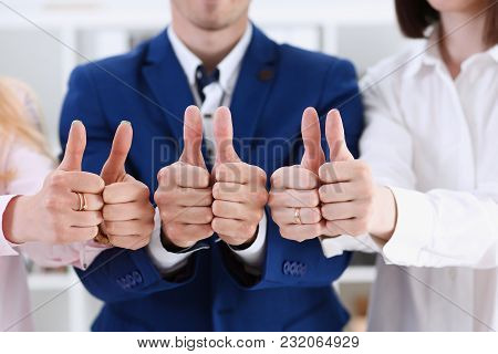 Group Of People Show Ok Or Approval With Thumb Up During Conference Closeup. High Level Quality Prod