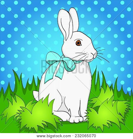 Pop Art Easter Bunny On Green Grass. Comic Book Style Imitation. Vintage Retro Style. Conceptual Ill