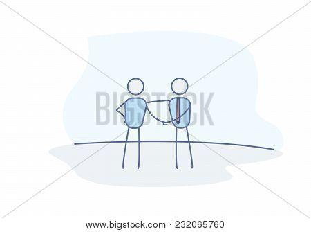Stick figures business people shaking hands. Business handshake representing a deal, partnership, teamwork, trust and agreement. Vector doodle illustration