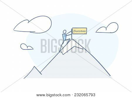 Stick man reaching top of the mountain representing success and achievment. Vector character doodle illustration