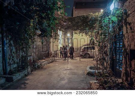 Jerusalem, Israel, September 10, 2015 :  Silent Street At Night In Nachlaot District Of Jerusalem, I