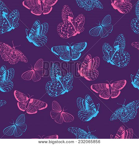 Seamless Pattern Of Butterflies Silhouettes. Elegance Butterfly On Violet  Background Vector Illustr