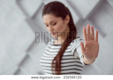 I Am Alone. Selective Focus Of A Female Hand Being Shown To You Be A Nice Beautiful Upset Woman