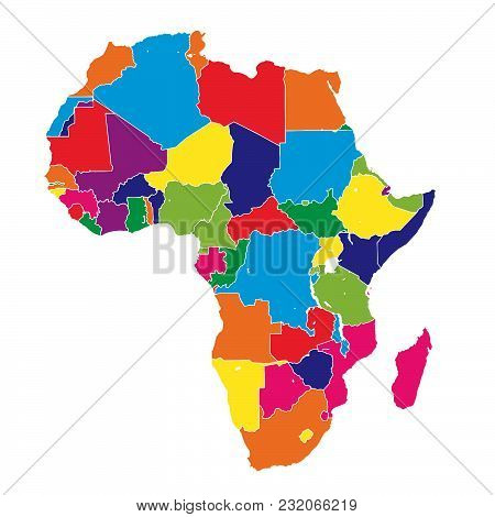 Africa Colorful Vector Map. Political Version Usable For Travel Marketing, Real Estate And Education